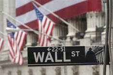 La Bourse de New York a ouvert sur une note stable mercredi, les investisseurs restant sur la réserve à la veille du long week-end de Thanksgiving, tandis que le titre Hewlett-Packard s'envole au lendemain de la publication de ses résultats trimestriels jugés encourageants. Le Dow Jones gagne 0,1%, le Standard & Poor's 500 0,11% et le Nasdaq Composite 0,24%. /Photo d'archives/REUTERS/Chip East