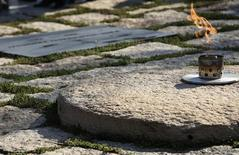 The new, permanent eternal flame is shown at the gravesite (L) of former U.S. President John F. Kennedy at Arlington National Cemetery in Virginia October 29, 2013. REUTERS/Gary Cameron