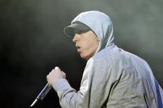 U.S. rapper Eminem performs during the Abu Dhabi F1 Grand Prix After Race closing concert at the du Arena on Yas Island November 4, 2012. REUTERS/Jumana ElHeloueh