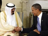 لقاء بين العاهل السعودي الملك عبد الله والرئيس الامريكي باراك أوباما في البيت الابيض بواشنطن في 29 يونيو حزيران 2010. تصوير: لاري داونينج - رويترز