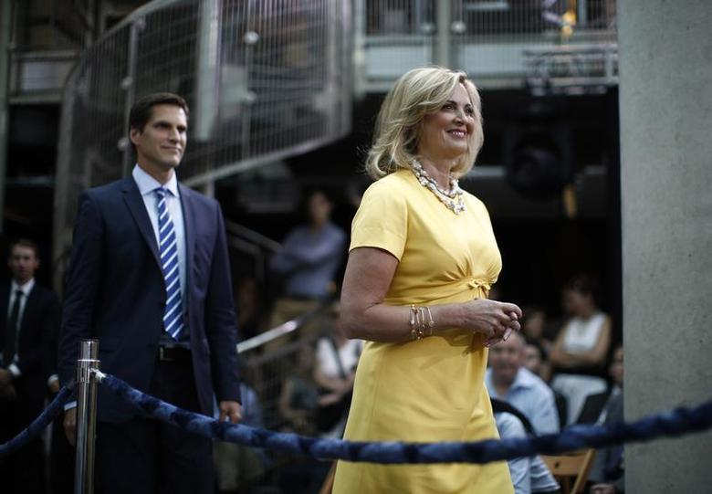 Ann Romney, wife of U.S. Republican Presidential candidate Mitt Romney, and their son Josh arrive to hear Mitt Romney deliver foreign policy remarks at the University of Warsaw, July 31, 2012. REUTERS/Jason Reed