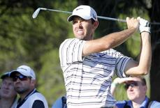 Charl Schwartzel of South Africa tees off on the 14th hole during the second round of the inaugural Turkish Airlines Open in the south west city of Antalya November 8, 2013. REUTERS/Umit Bektas