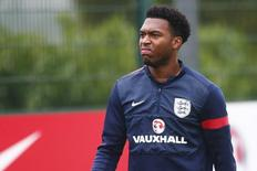 England striker Daniel Sturridge walks off the field during a team training session at Arsenal's training facility in London Colney, north of London, November 18, 2013 file photo. REUTERS/Andrew Winning