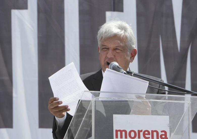 Leftist Andres Manuel Lopez Obrador addresses supporters during a protest against the privatization of the state-oil monopoly Pemex at Zocalo Square in downtown Mexico City October 27, 2013. REUTERS/Stringer