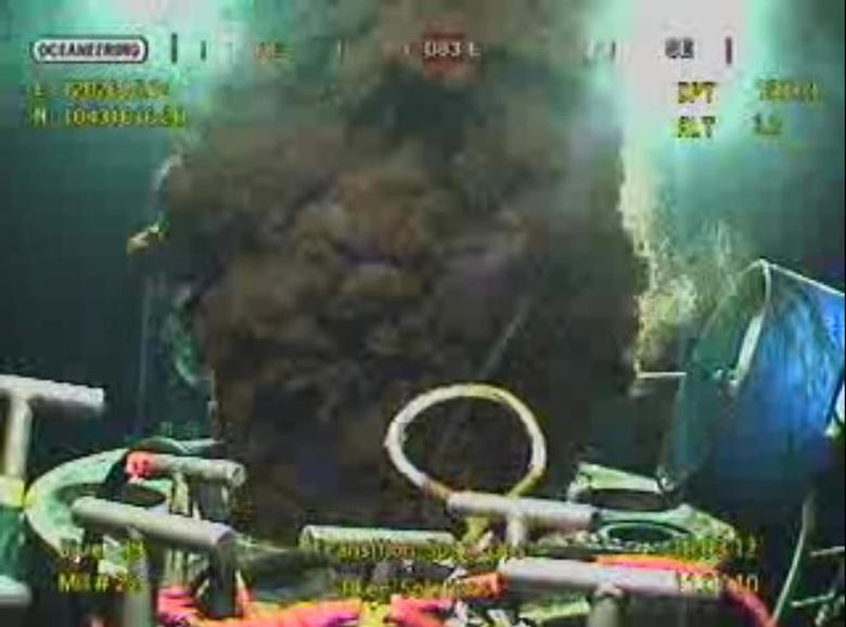 Oil gushes from Bp's ruptured well in the Gulf of Mexico, in this frame grab captured from a BP live video feed on July 11, 2010. REUTERS/BP/Handout