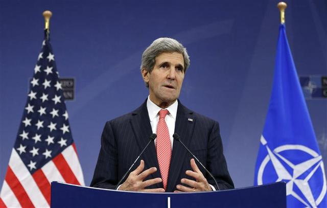 U.S. Secretary of State John Kerry addresses a news conference during a NATO foreign ministers meeting at the Alliance headquarters in Brussels December 3, 2013. REUTERS/Francois Lenoir