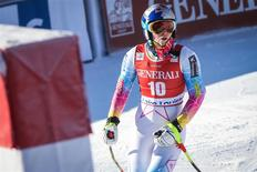 Dec 4, 2013; Lake Louise, Alberta, Canada; Lindsey Vonn of the United States reacts during women's downhill training for the FIS alpine skiing World Cup at Lake Louise Ski Resort. Sergei Belski-USA TODAY Sports