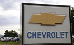 The sign at a General Motors Chevrolet dealer is pictured in Golden, Colorado September 4, 2013. REUTERS/Rick Wilking