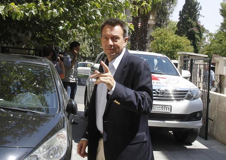 International Committee of the Red Cross (ICRC) President Peter Maurer arrives at the Syrian Red Crescent headquarters in Damascus September 4, 2012. REUTERS/Khaled al-Hariri
