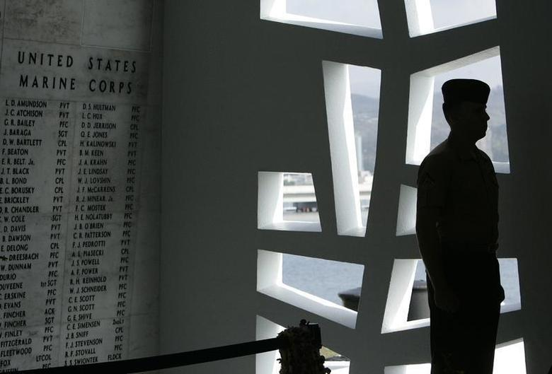 A U.S. Marine stands at attention at the ''Remembrance Wall'' in the Shrine Room on the USS Arizona Memorial during the 71st anniversary of the attack on Pearl Harbor at the WW II Valor in the Pacific National Monument in Honolulu, Hawaii December 7, 2012. REUTERS/Hugh Gentry