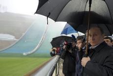 "Russia's President Vladimir Putin (front) visits the ""RusSki Gorki"" Jumping Center at the Krasnaya Polyana resort near the Black Sea city of Sochi November 27, 2013. REUTERS/Aleksey Nikolskyi/RIA Novosti/Kremlin"