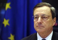 European Central Bank (ECB) President Mario Draghi addresses a news conference at the European parliament in Brussels December 17, 2012. REUTERS/Laurent Dubrule