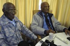107-year old Richard Overton (L), sits with fellow centenarian and World War II veteran Elmer Hill as they met for the first time at the Emeritus at Parmer Woods Senior Living Center in Austin, Texas, on December 13, 2013. REUTERS/Jan Herskovitz