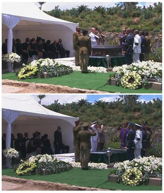 A combination photo shows a member of military speaking before the burial of former South African President Nelson Mandela (top), and military personnel saluting after the burial in Mandela's ancestral village of Qunu in the Eastern Cape province, 900 km (559 miles) south of Johannesburg, in this still image taken from December 15, 2013 video courtesy of the South Africa Broadcasting Corporation (SABC). REUTERS-SABC via Reuters TV
