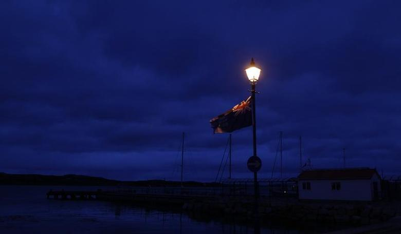 A Falkland Islands flag is seen on the coast of Stanley March 14, 2013. REUTERS/Marcos Brindicci