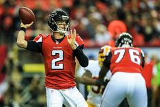 Dec 15, 2013; Atlanta, GA, USA; Atlanta Falcons quarterback Matt Ryan (2) throws a pass in the first half against the Washington Redskins at the Georgia Dome. Daniel Shirey-USA TODAY Sports