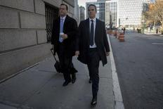 Former SAC Capital portfolio manager Michael Steinberg (R) arrives with his lawyer Barry Berke at the Manhattan Federal Courthouse in New York, November 21, 2013. REUTERS/Brendan McDermid