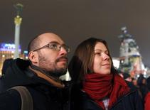 Igor Skliarevsky and his wife Elena attend a pro-European meeting at Independence Square in Kiev, December 16, 2013. REUTERS/Vasily Fedosenko