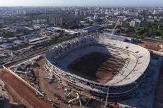 An aerial view shows the construction of the Arena da Amazonia, or Vivaldo Lima Stadium, as it is rebuilt to host the 2014 World Cup, in Manaus August 2, 2013. REUTERS/Bruno Kelly