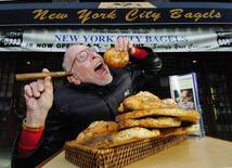 Al Goldstein, who earned and lost a multi-million dollar fortune in the pornography business, poses outside New York City Bagels where he currently works in sales, January 19, 2005. REUTERS/Henny Ray Abrams