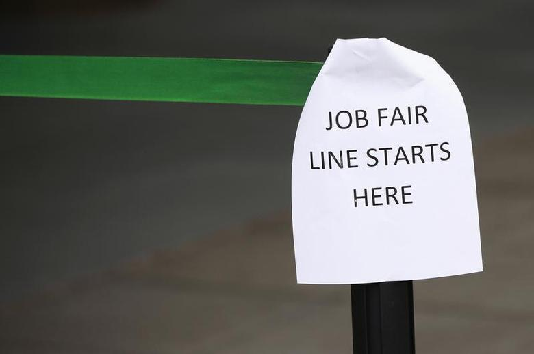 A sign marks the entrance to a job fair in New York October 24, 2011. REUTERS/Shannon Stapleton