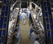 Funcionários processam frangos no abatedouro Céu Azul Alimentos em Itatinga. As exportações de carne de frango para o mercado chinês devem voltar a subir em 2014, com a reabilitação de três unidades produtoras que haviam sida suspensas no começo deste ano, disse nesta sexta-feira a associação que reúne exportadores. 04/10/2011 REUTERS/Paulo Whitaker