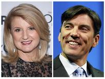 "A file combination photo shows Arianna Huffington (L) arriving for Glamour Magazine's ""Women Of The Year"" event in New York on November 11, 2013, and Chairman and CEO of AOL Tim Armstrong smiling during a panel session at The Cable Show in Boston, Massachusetts on May 21, 2012. REUTERS/Carlo Allegri/Jessica Rinaldi/Files"