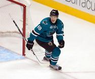 Oct 8, 2013; San Jose, CA, USA; San Jose Sharks center Tomas Hertl (48) reacts after getting a hat trick against the New York Rangers during the third period at SAP Center at San Jose. Ed Szczepanski-USA TODAY Sports