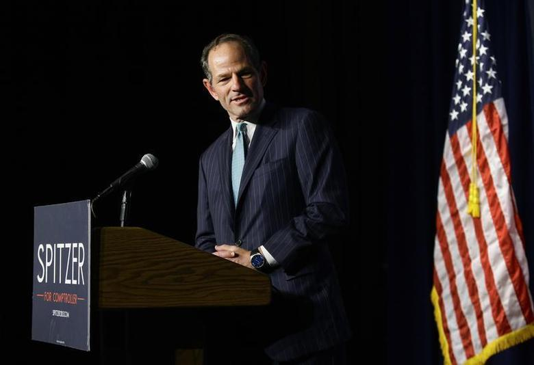 Former New York State Governor and Democratic candidate for New York City Comptroller Eliot Spitzer speaks during his Democratic primary election night event in New York, September 10, 2013. REUTERS/Joshua Lott