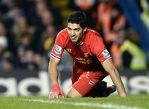 Liverpool's Luis Suarez reacts during their English Premier League soccer match against Chelsea at Stamford Bridge in London, December 29, 2013. REUTERS/Dylan Martinez