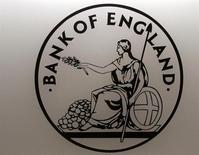 A logo bearing an image of Britannia, an emblem of the Bank of England, is seen in the Bank's reception in London March 25, 2008. REUTERS/Luke MacGregor