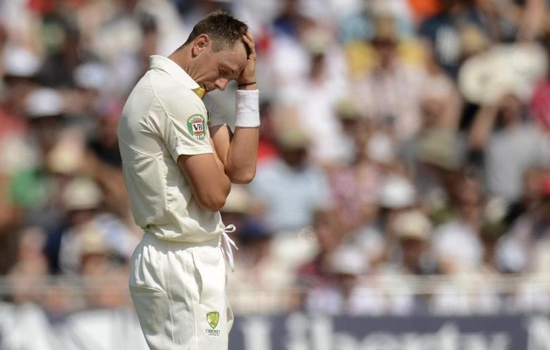 Australia's James Pattinson reacts during the first Ashes cricket test match against England at Trent Bridge cricket ground in Nottingham, England July 13, 2013. REUTERS/Philip Brown