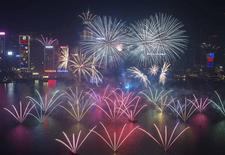 Fireworks explode over Victoria Harbour and Hong Kong Convention and Exhibition Centre during a pyrotechnic show to celebrate the New Year in Hong Kong January 1, 2014. REUTERS/Tyrone Siu