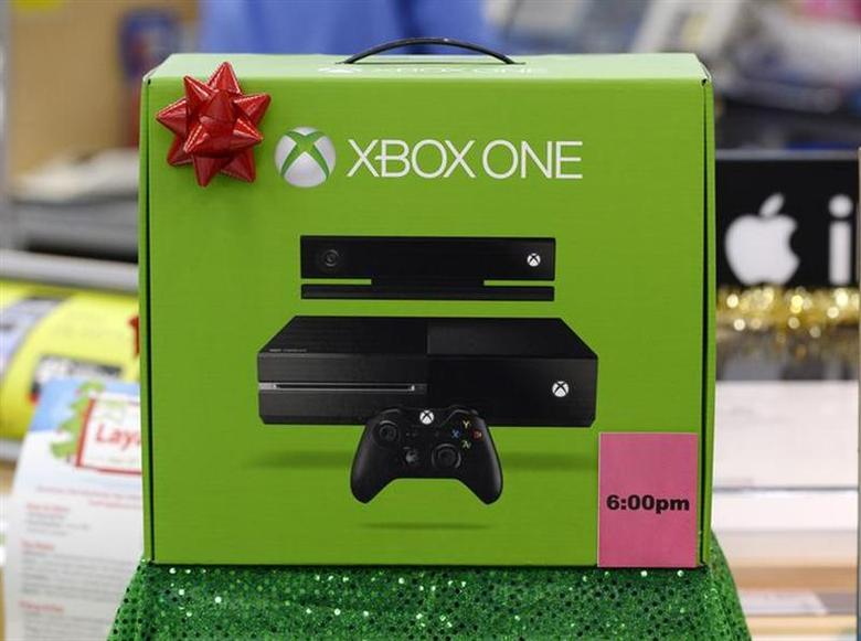 An XBox One which will be discounted at 6pm local time on Thanksgiving day is seen on display at the Wal-Mart Supercenter in the Porter Ranch section of Los Angeles November 26, 2013. REUTERS/Kevork Djansezian/Files