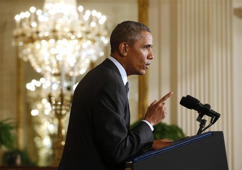 U.S. President Barack Obama announces the first five ''Promise Zones'', located in San Antonio, Philadelphia, Los Angeles, Southeastern Kentucky, and the Choctaw Nation of Oklahoma during an event at the White House in Washington January 9, 2014. REUTERS/Kevin Lamarque