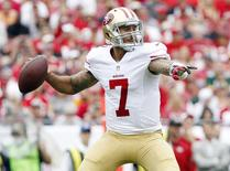 San Francisco 49ers quarterback Colin Kaepernick (7) throws the ball against the Tampa Bay Buccaneers during the first half at Raymond James Stadium. Mandatory Credit: Kim Klement-USA TODAY Sports