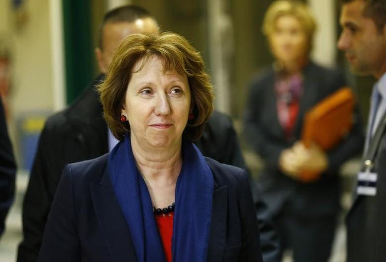 European Union foreign policy chief Catherine Ashton arrives for two days of closed-door nuclear talks with Iranian Foreign Minister Mohammad Javad Zarif at the United Nations European headquarters in Geneva November 20, 2013. REUTERS/Denis Balibouse