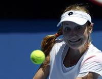 Ekaterina Makarova of Russia eyes the ball during her women's singles match against Venus Williams of the U.S. at the Australian Open 2014 tennis tournament in Melbourne January 13, 2014. REUTERS/Jason Reed