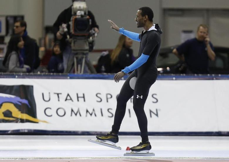 Dec 31, 2013; Kearns, UT, USA; First place finisher Shani Davis after he competes in the men's 1500m during the U.S. Olympic speedskating trials at Utah Olympic Oval. Mandatory Credit: Jim Urquhart-USA TODAY Sports