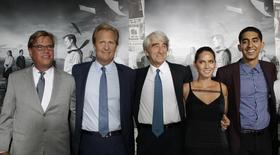 """Aaron Sorkin (L), creator and executive producer, and actors Jeff Daniels (2nd L), Sam Waterston (C), Olivia Munn and Dev Patel (R) arrive for the season 2 premiere of their HBO drama series """"The Newsroom"""" in Hollywood July 10, 2013. REUTERS/Fred Prouser"""