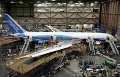 The first Boeing 787 Dreamliner sits on the assembly line at the company's Everett, Washington plant, in this May 19, 2008 file photo. REUTERS/Robert Sorbo/Files