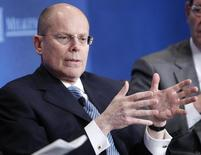 """UnitedHealth Chief Executive Officer Stephen Hemsley takes part in a panel discussion titled """"Getting From Care to Cure"""" at the Milken Institute Global Conference in Beverly Hills, California May 1, 2012. REUTERS/Danny Moloshok"""