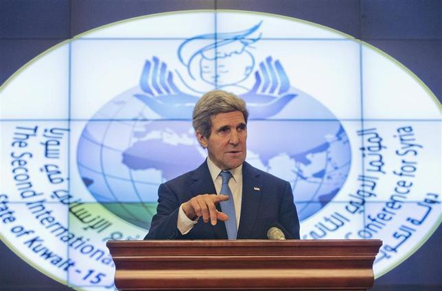 U.S. Secretary of State John Kerry speaks during his news conference at Syrian Donors Conference at the Bayan Palace in Kuwait City January 15, 2014. REUTERS/Pablo Martinez Monsivais/Pool