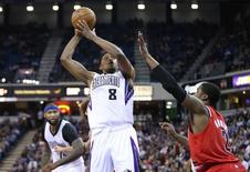 Sacramento Kings small forward Rudy Gay (8) shoots the ball against Portland Trail Blazers shooting guard Wesley Matthews (2) during the fourth quarter at Sleep Train Arena. Kelley L Cox-USA TODAY Sports