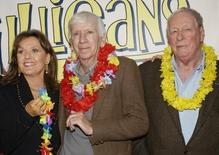 "Dawn Wells, Bob Denver and Russell Johnson (L-R), cast members in ""Gilligan's Island,"" pose during a launch party for ""Gilligan's Island: The Complete First Season,"" which will debut on DVD February 3, 2004 in Marina Del Rey, California. REUTERS/Jim Ruymen"