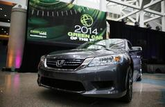 "The 2014 Honda Accord Hybrid, which was named ""Green Car of the Year"", is pictured at the Los Angeles Auto Show in Los Angeles, California, November 21, 2013. REUTERS/Lucy Nicholson"