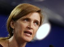 U.S. Ambassador to the United Nations Samantha Power speaks in Washington, September 6, 2013. REUTERS/Larry Downing (UNITED STATES - Tags: POLITICS CIVIL UNREST CONFLICT) - RTX13A23