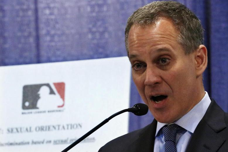 New York Attorney General Eric Schneiderman talks about Major League Baseball's policies against harassment and discrimination based on sexual orientation during a news conference in New York, July 16, 2013. REUTERS/Brendan McDermid