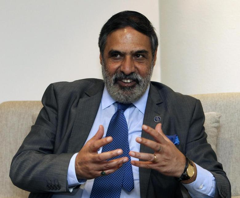 India's Trade Minister Anand Sharma speaks during an interview with Reuters as meetings continue to take place into the night at ninth World Trade Organization (WTO) Ministerial Conference in Nusa Dua, on the Indonesian resort island of Bali December 6, 2013. REUTERS/Edgar Su