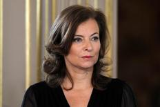 Valerie Trierweiler, companion of France's new President Francois Hollande, attends the investiture ceremony at the Elysee Palace in Paris May 15, 2012. REUTERS/Charles Platiau